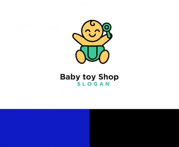 Logotipo de loja de brinquedos de bebê Vetor Premium