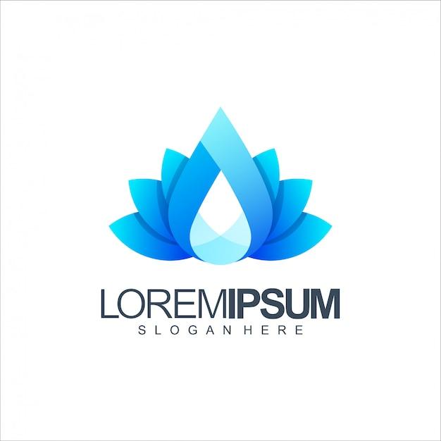 Logotipo de lótus de água Vetor Premium