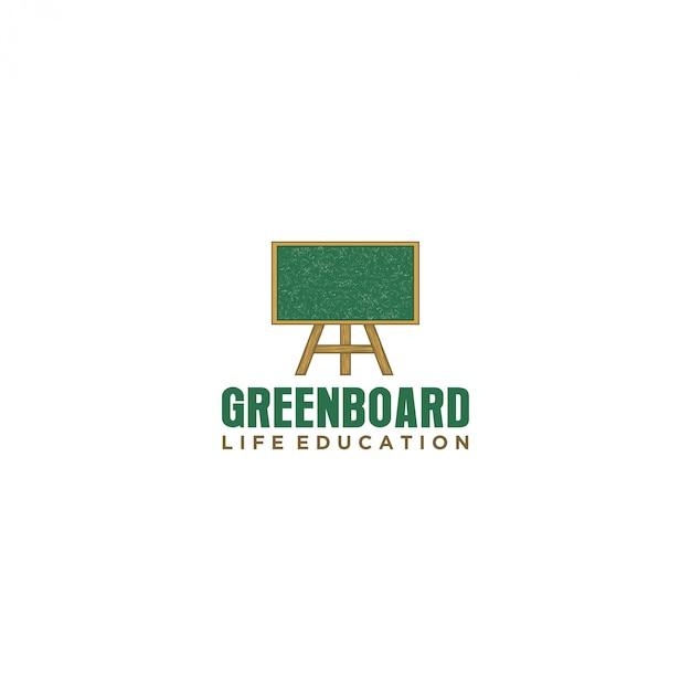 Logotipo de lousa para escola de educação Vetor Premium