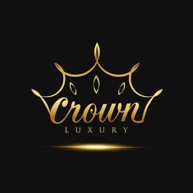 Logotipo de luxo de coroa de ouro Vetor grátis