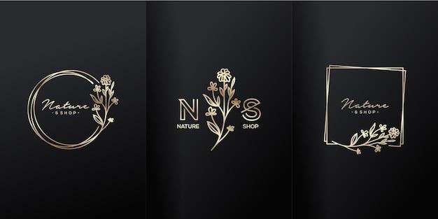 Logotipo de luxo de flor natural boutique Vetor Premium