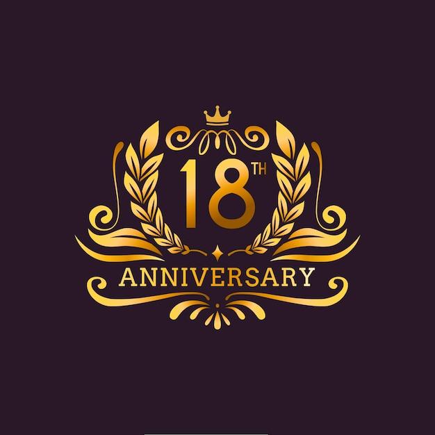 Logotipo de luxo do 18º aniversário Vetor grátis