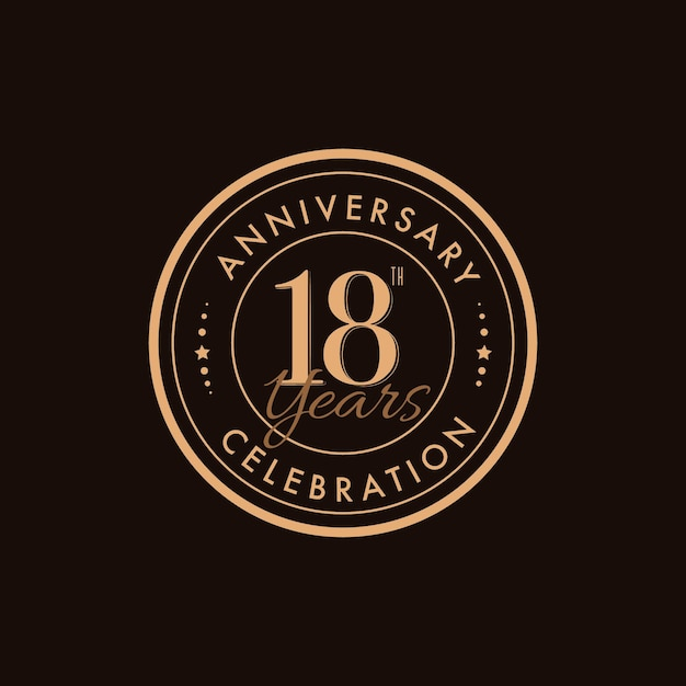 Logotipo de luxo do 18º aniversário Vetor Premium