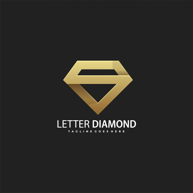 Logotipo de luxo letra s de diamante Vetor Premium