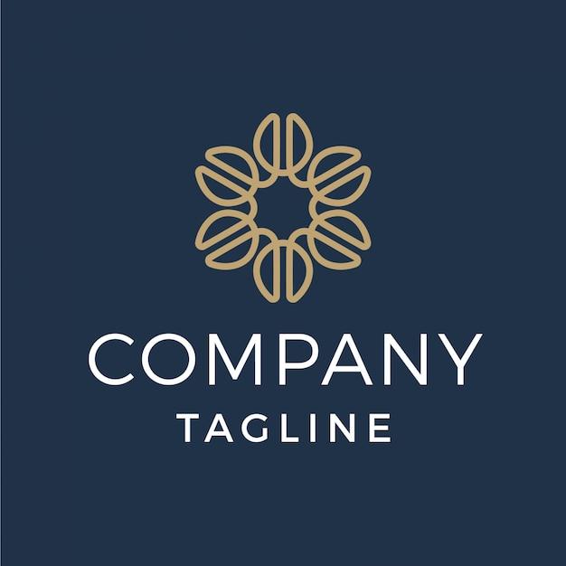 Logotipo de luxo monoline flor feijão de café Vetor Premium
