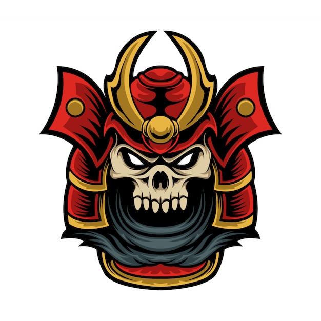 Logotipo de mascote crânio cabeça de samurai Vetor Premium