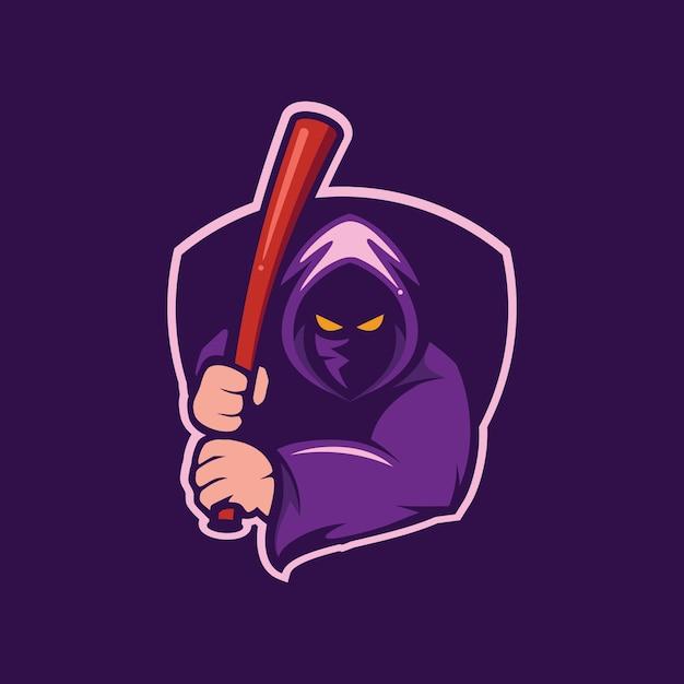 Logotipo de mascote de assistente e beisebol Vetor Premium
