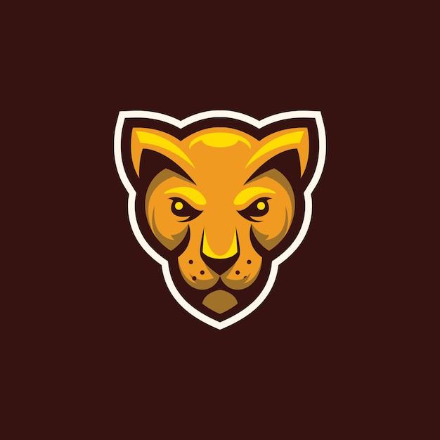 Logotipo de mascote de cabeça de gato selvagem Vetor Premium