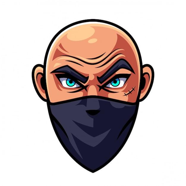 Logotipo de mascote de cabeça de homem careca Vetor Premium