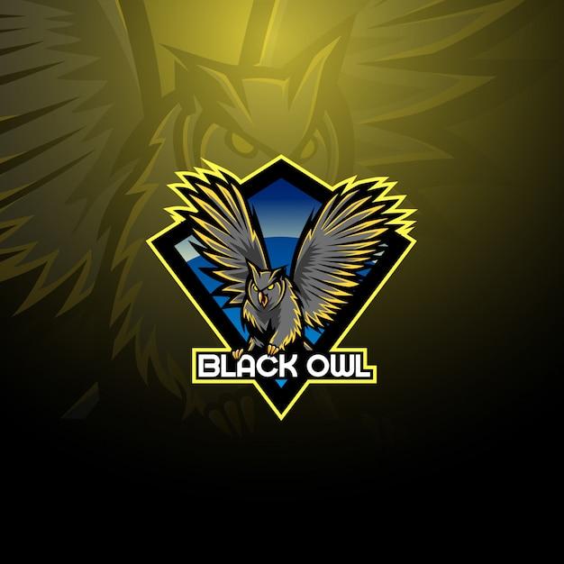 Logotipo de mascote de coruja de pássaro noturno Vetor Premium