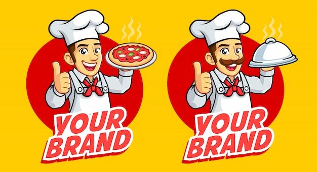 Logotipo de mascote de dois homens de chef bom para negócios alimentares e culinária. Vetor Premium