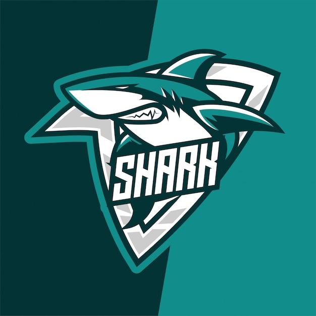 Logotipo de mascote de e-sport predador de tubarão verde Vetor Premium