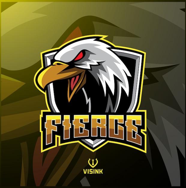Logotipo de mascote de esporte de águia Vetor Premium