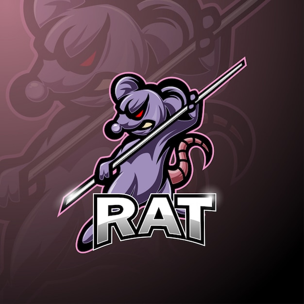 Logotipo de mascote de esporte de rato de kung fu Vetor Premium