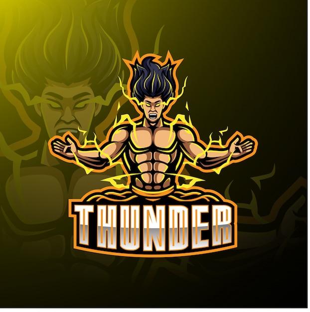 Logotipo de mascote de esporte de trovão Vetor Premium