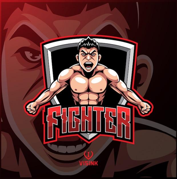 Logotipo de mascote de esporte lutador Vetor Premium