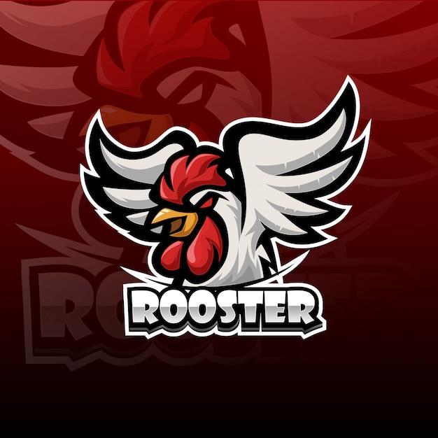 Logotipo de mascote de galo esport Vetor Premium