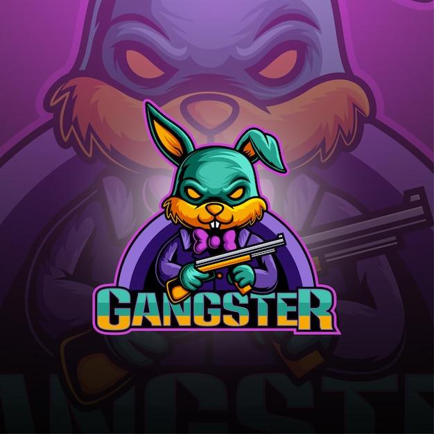Logotipo de mascote de gangster bunny esport Vetor Premium