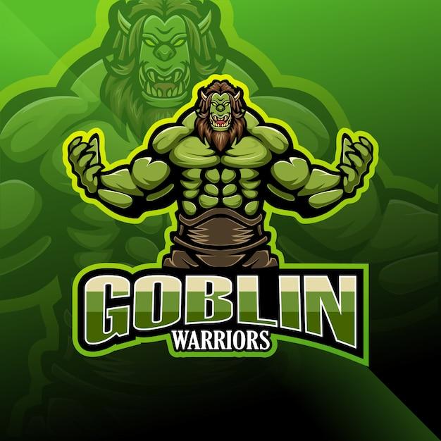 Logotipo de mascote de goblin warrior esport Vetor Premium