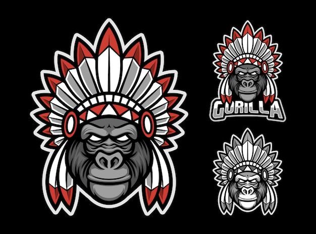 Logotipo de mascote de gorila apache esport Vetor Premium