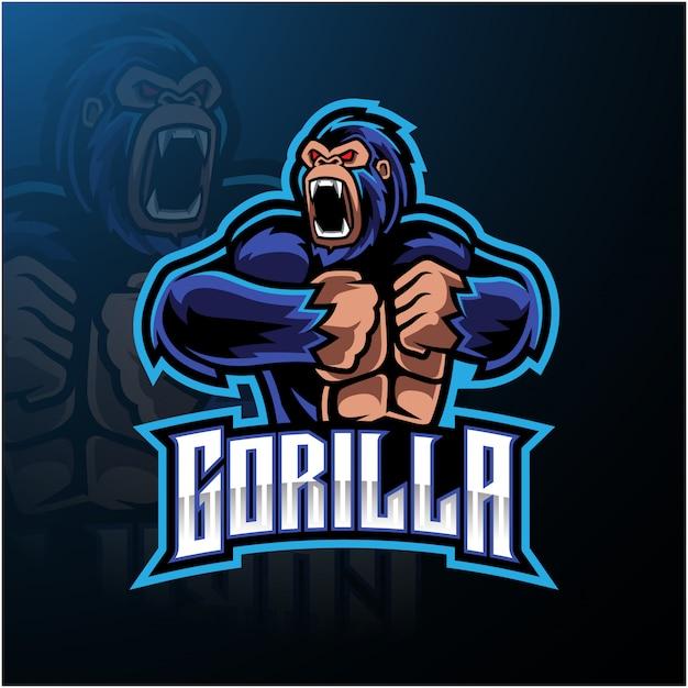 Logotipo de mascote de gorila zangado desain Vetor Premium