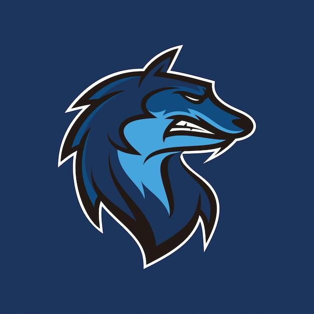 Logotipo de mascote de ilustração de chacal de lobo Vetor Premium