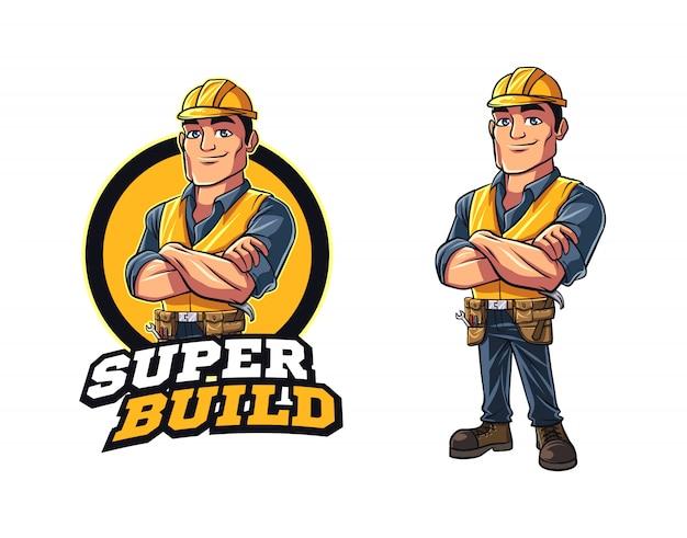Logotipo de mascote de personagem de empreiteiro dos desenhos animados Vetor Premium