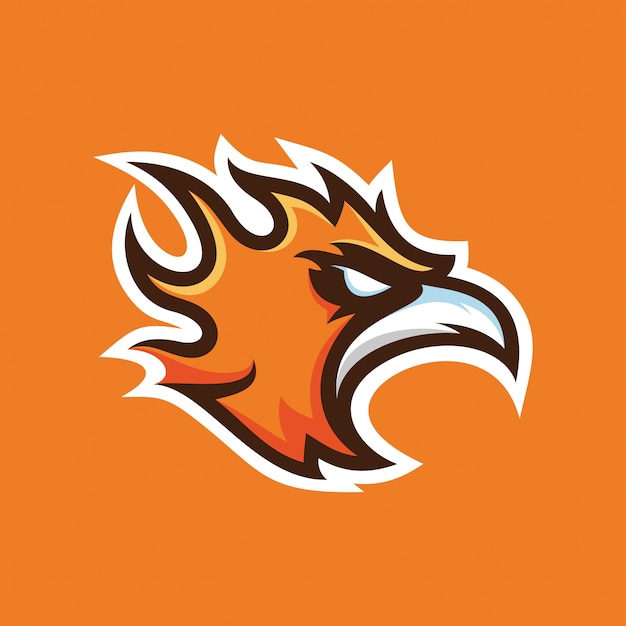 Logotipo de mascote de phoenix Vetor Premium