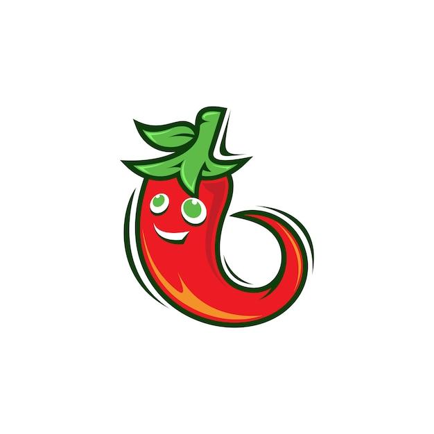 Logotipo de mascote de pimentão Vetor Premium