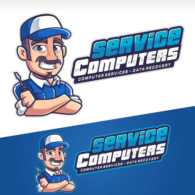 Logotipo de mascote de reparador de serviço de computador Vetor Premium