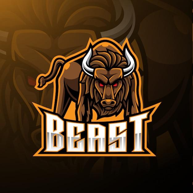 Logotipo de mascote de touro bravo Vetor Premium