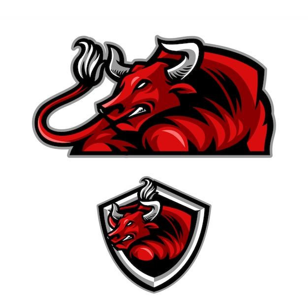 Logotipo de mascote de touro Vetor Premium