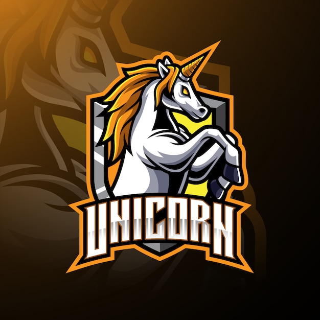 Logotipo de mascote de unicórnio de salto Vetor Premium