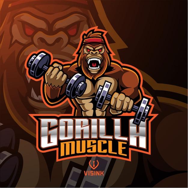 Logotipo de mascote do músculo gorila Vetor Premium