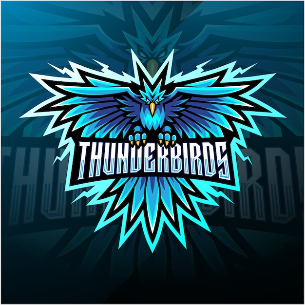 Logotipo de mascote do thunder birds esport Vetor Premium