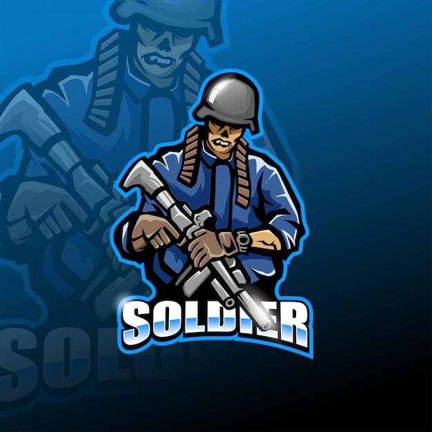 Logotipo de mascote esport de exército de zumbi Vetor Premium