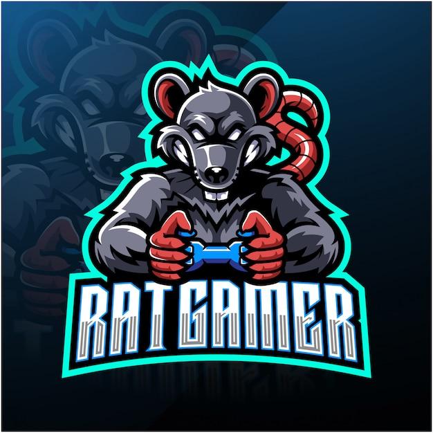 Logotipo de mascote esportista de jogador de rato Vetor Premium