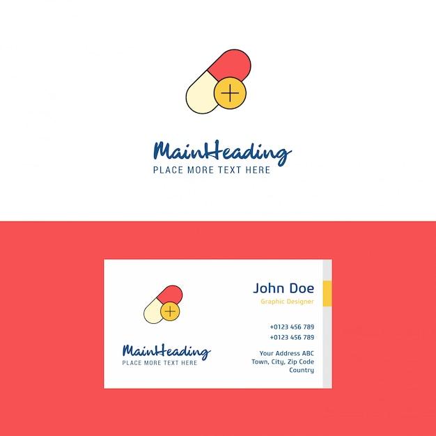 Logotipo de medicina plana e modelo de cartão de visita. Vetor Premium
