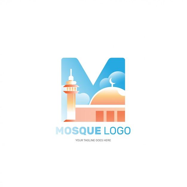 Logotipo de mesquita isolado para marca de empresa muçulmana islâmica Vetor Premium