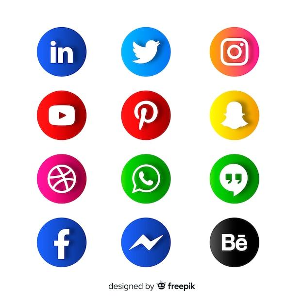 Logotipo de mídia social collectio Vetor grátis