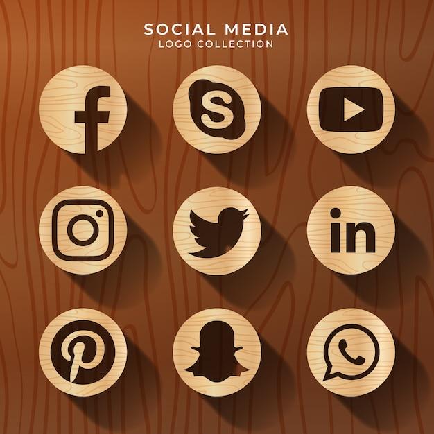 Logotipo de mídia social com textura de madeira Vetor Premium