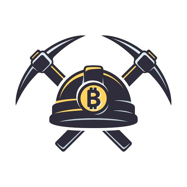Logotipo de mineração bitcoin Vetor Premium