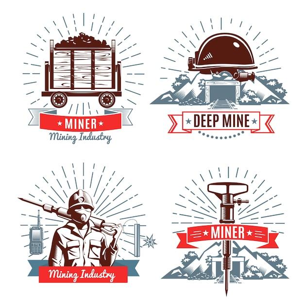 Logotipo de mineração e elementos de design Vetor grátis