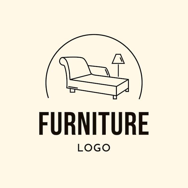 Logotipo de mobiliário minimalista com lâmpada Vetor Premium