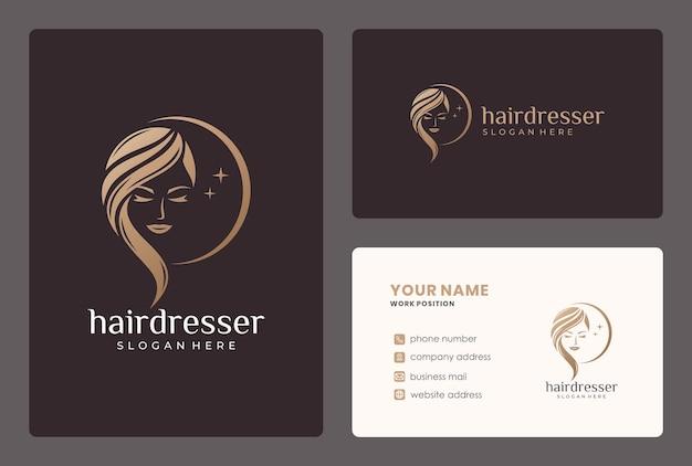 Logotipo de moman de beleza elegante. o logotipo pode ser usado para cabeleireiro, salão de beleza, corte de cabelo, cuidados de beleza. Vetor Premium