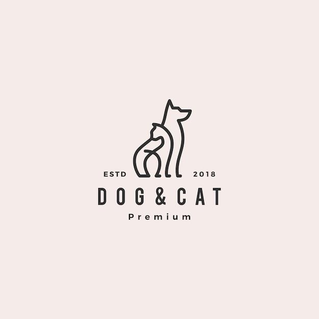 Logotipo de monoline do cão gato linha contorno Vetor Premium