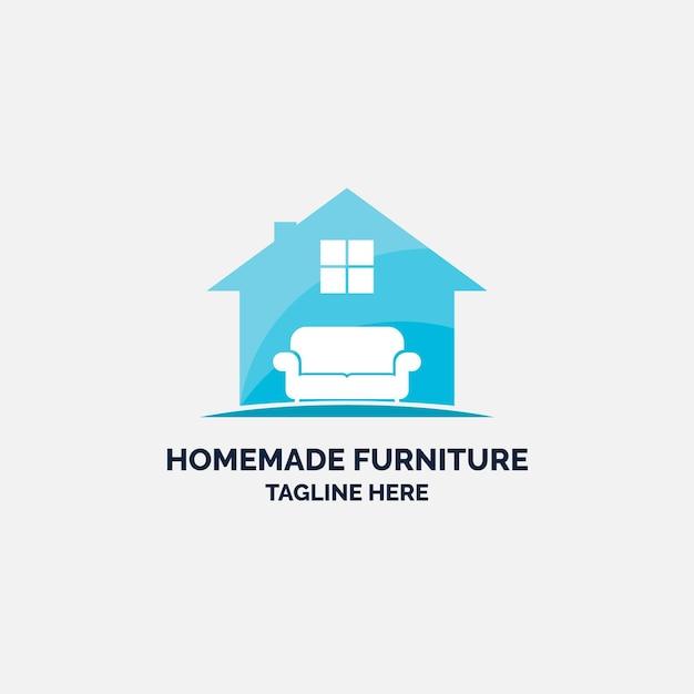 Logotipo de móveis com casa e sofá Vetor Premium