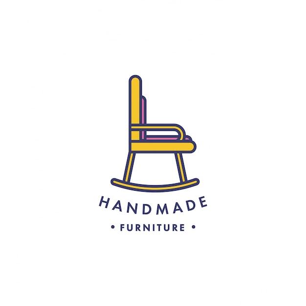 Logotipo de móveis de madeira linear. Vetor Premium