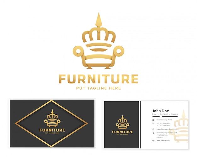 Logotipo de móveis rei com papelaria cartão de visita Vetor Premium