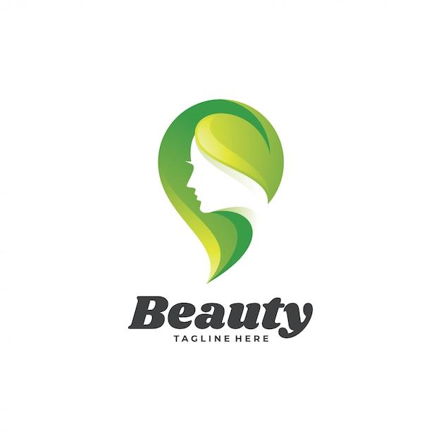 Logotipo de mulher beleza verde natureza Vetor Premium